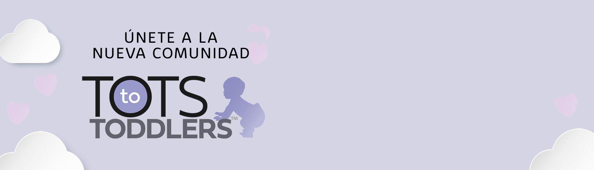 Logo de Tots To Toddlers con nubes en el fondo